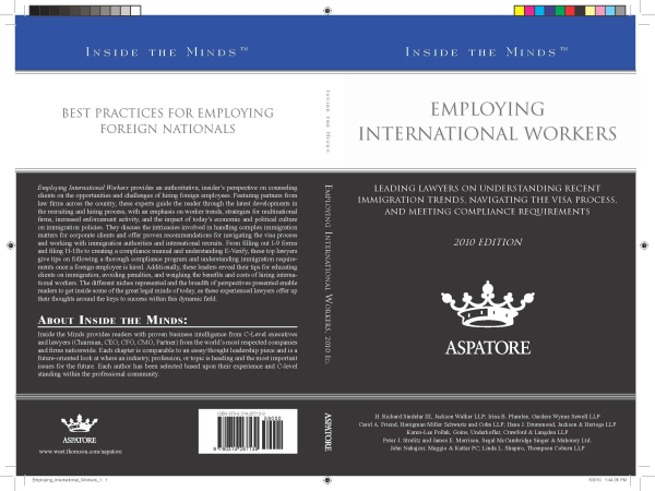 Inside the Minds: Employing International Workers, 2010 ed
